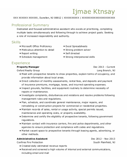 Property Manager resume sample New Jersey