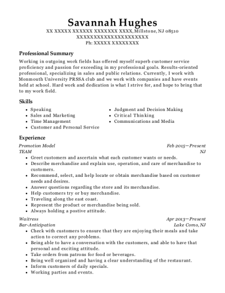 Promotion Model resume template New Jersey