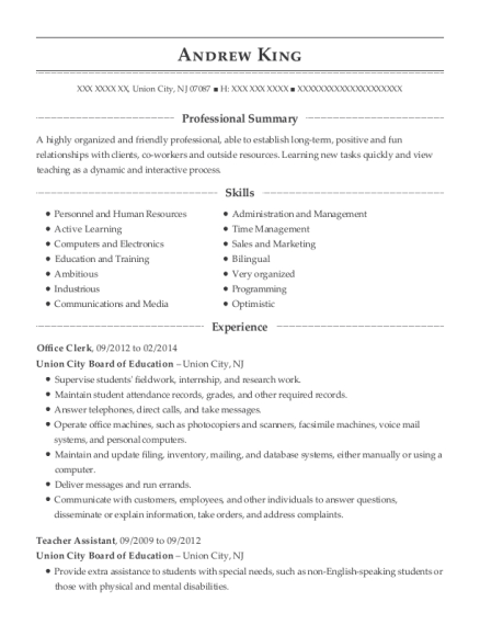 Office Clerk resume template New Jersey