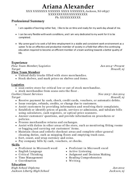 Flow Team Member resume sample New Jersey