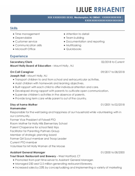 Stay At Home Mother resume example New Jersey