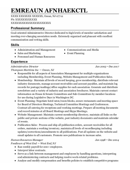 Administrative Director resume sample New Jersey
