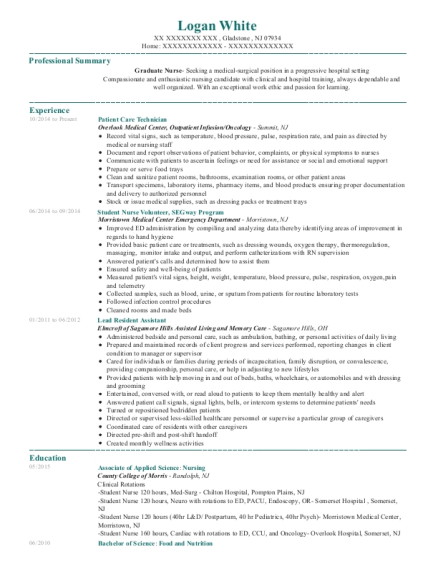 Patient Care Technician resume sample New Jersey