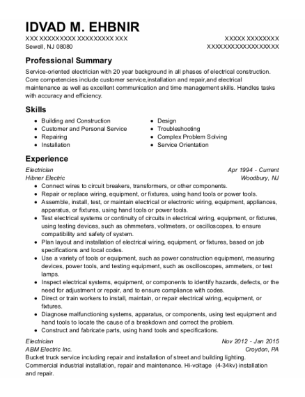 Electrician resume format New Jersey