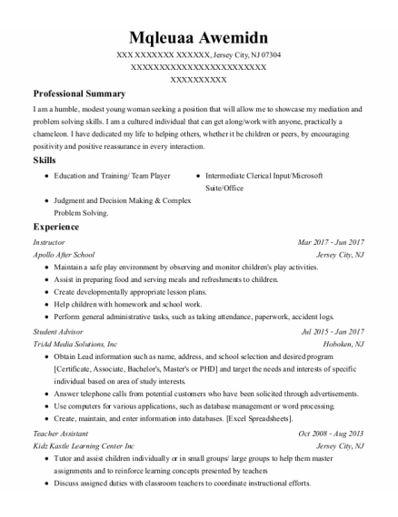 Instructor resume template New Jersey