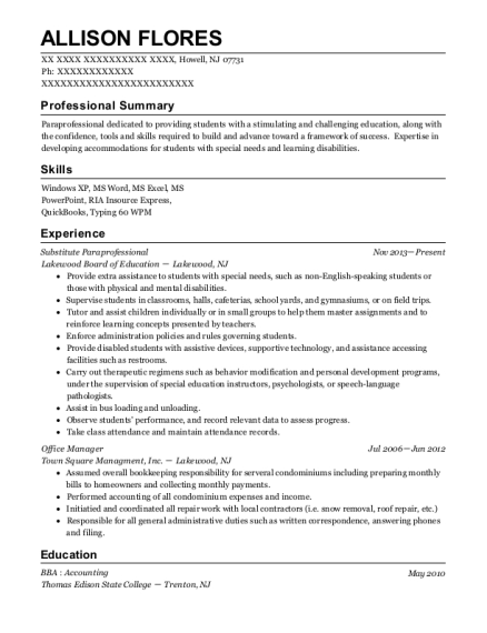 Substitute Paraprofessional resume template New Jersey