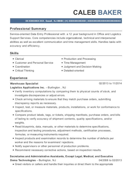 Warehouse Specialist resume template New Jersey