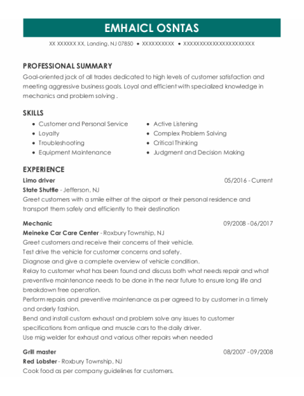 Limo Driver resume example New Jersey