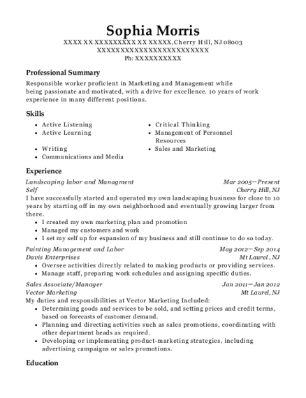 Landscaping labor and Managment resume sample New Jersey