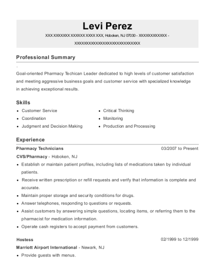 Pharmacy Technicians resume template New Jersey
