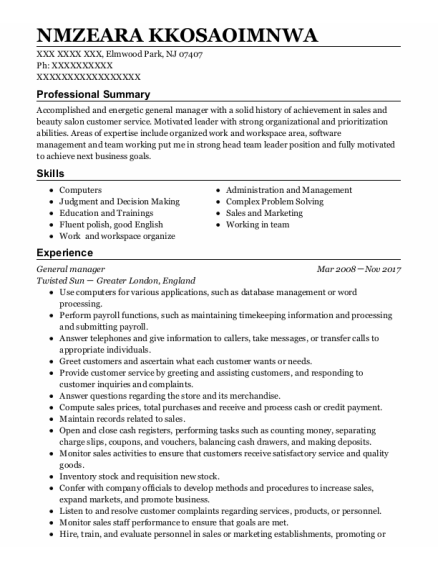 General Manager resume example New Jersey