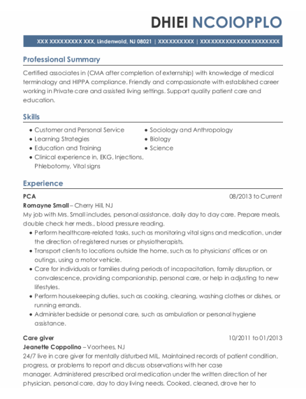 PCA resume format New Jersey