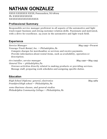 Service Manager resume template New Jersey