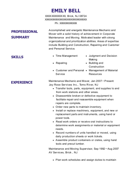 Maintenance Mechanic and Mover resume template New Jersey