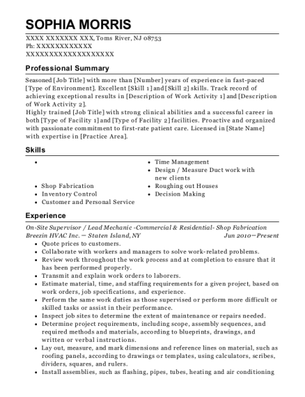 On Site Supervisor resume format New Jersey