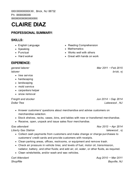 general laborer resume template New Jersey