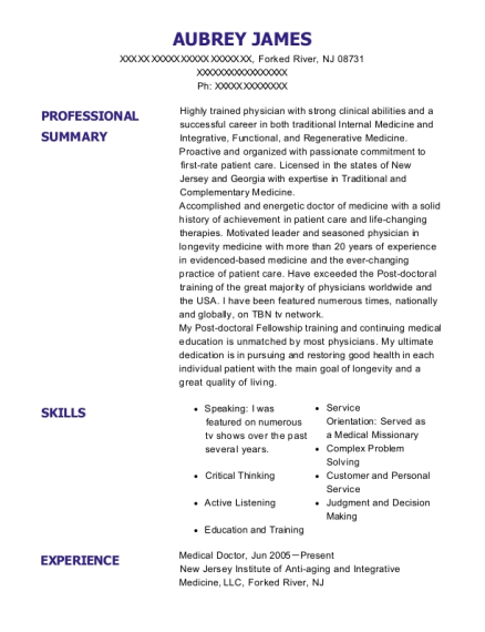 Medical Doctor resume example New Jersey