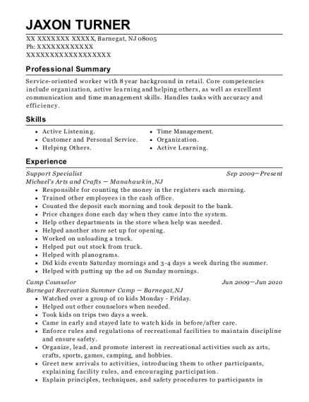 Support Specialist resume example New Jersey