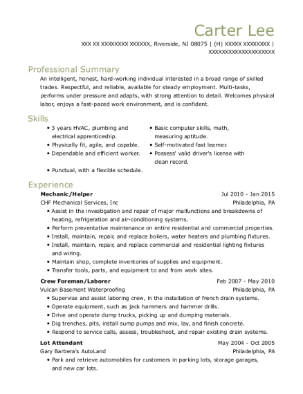 Mechanic resume template New Jersey