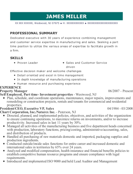 Property Manager resume format New Jersey