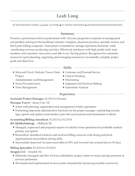 Assistant Project Manager resume example New Jersey