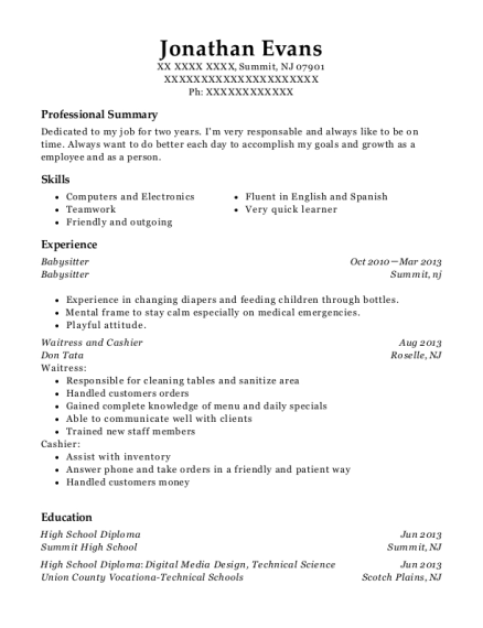 Babysitter resume example New Jersey