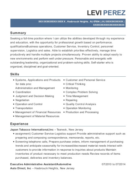 Executive Administrative Assistant resume sample New Jersey