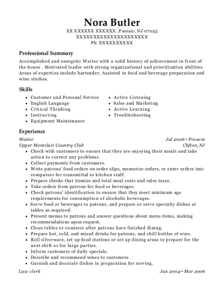 Waiter resume example New Jersey