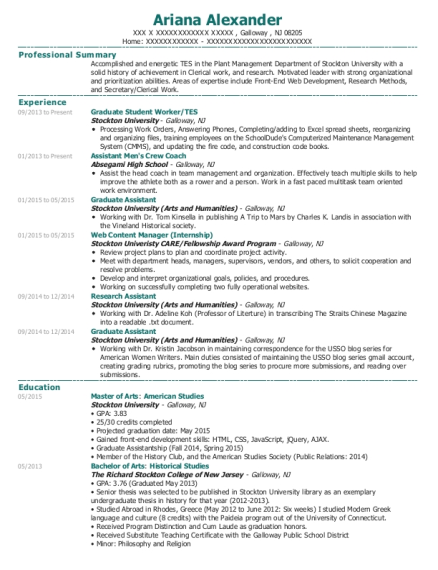 Graduate Student Worker resume template New Jersey