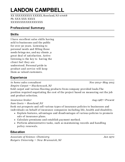 in home sales consultant resume example New Jersey