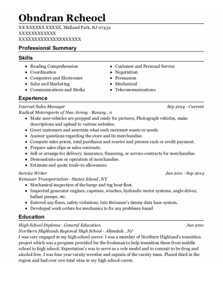 Internet Sales Manager resume sample New Jersey