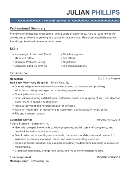 Reception resume format New Jersey