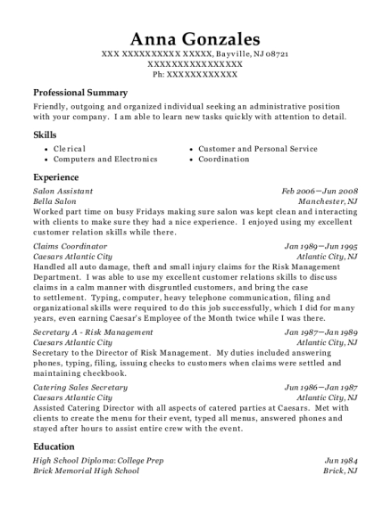 Salon Assistant resume template New Jersey