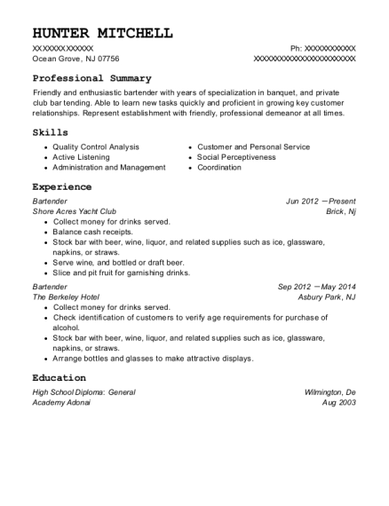 Bartender resume template New Jersey