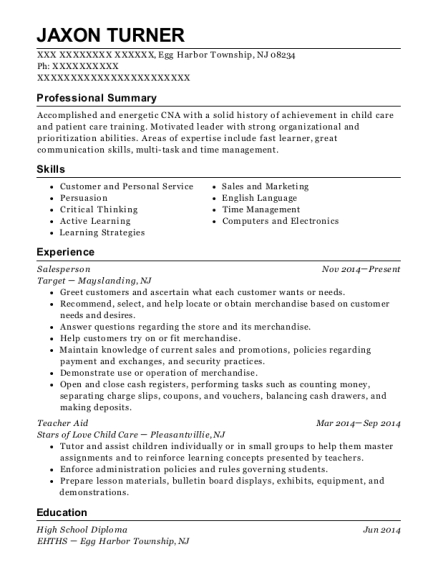 Salesperson resume example New Jersey