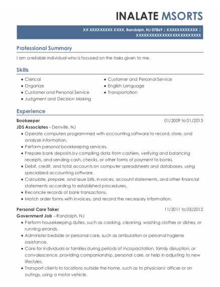 Bookeeper resume example New Jersey