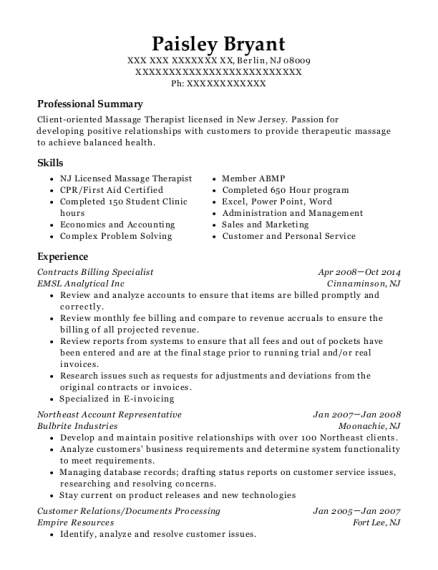 Contracts Billing Specialist resume format New Jersey