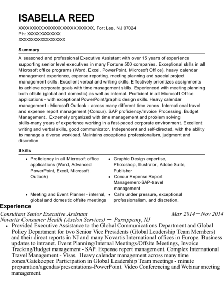 Consultant Senior Executive Assistant resume sample New Jersey