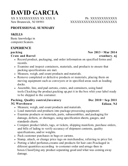 packing resume example New Jersey