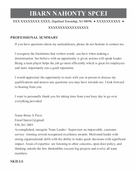 Team Leader resume template New Jersey