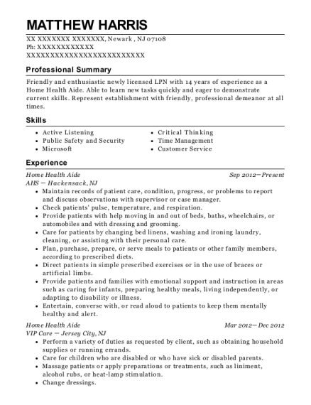 Home Health Aide resume format New Jersey