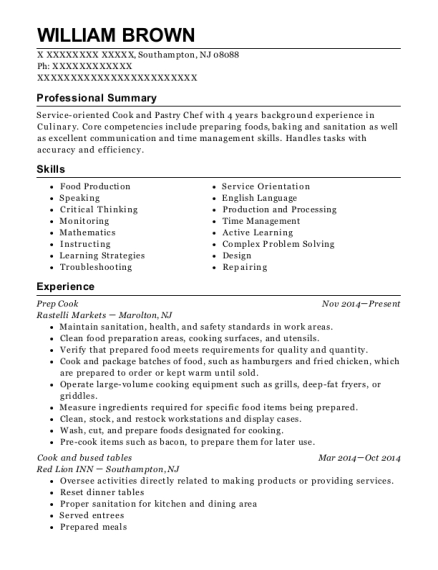 Prep Cook resume example New Jersey
