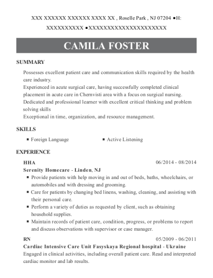 HHA resume example New Jersey