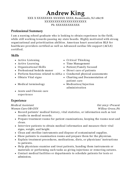 Medical Assistant resume format New Jersey