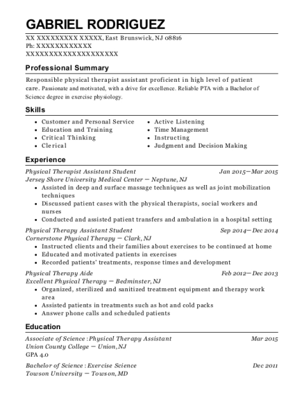 Physical Therapist Assistant Student resume example New Jersey