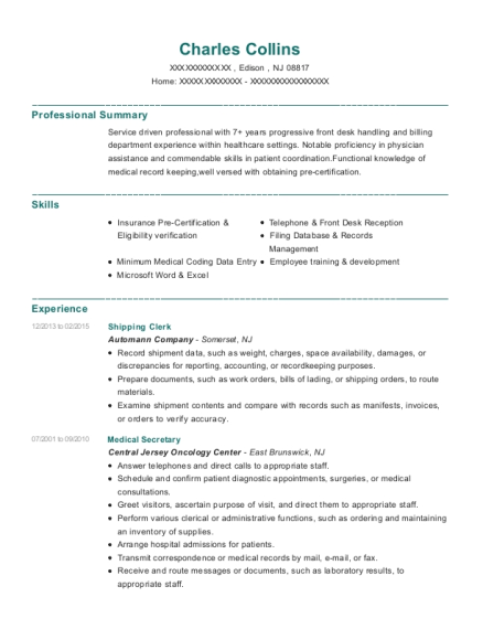 Shipping Clerk resume template New Jersey