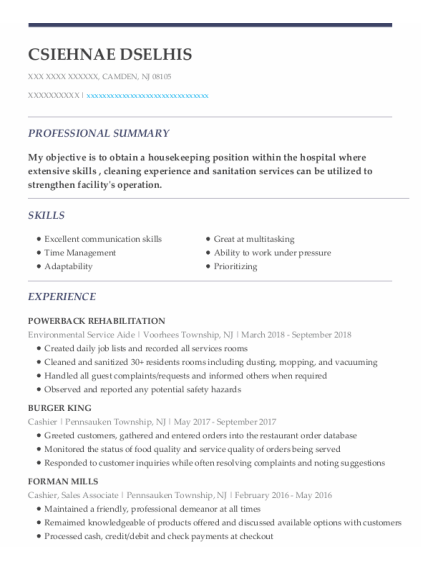 Environmental Service Aide resume example New Jersey