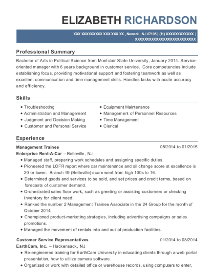 Management Trainee resume template New Jersey