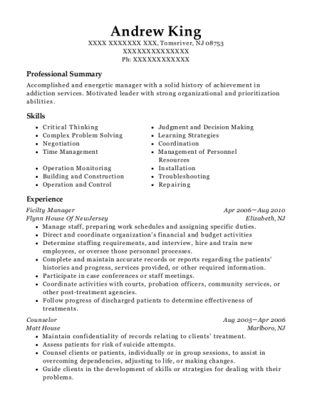 Ficilty Manager resume template New Jersey