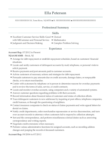 Account Rep resume template New Jersey